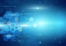 Abstrakter Stromkreis-blauer und geometrischer Hintergrund Stockfoto