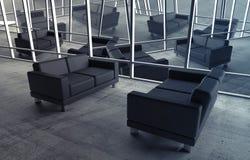 Abstrakter surrealer Büroinnenraum mit schwarzen Sofas vektor abbildung