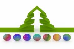 Abstrakter Tannenbaum und farbige Bälle Lizenzfreie Stockfotos