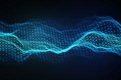 Abstrakter Technologie-Hintergrund Gitter des Hintergrundes 3d Cybertechnologie Ai-Technologiedraht-Netz futuristisches wireframe lizenzfreie abbildung