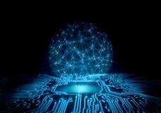Abstrakter Technologie-Hintergrund PerspektivenLeiterplatte mit glühender Energie in der Mitte und Draht gestalten globalen Berei stockbilder