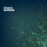 Abstrakter Technologie-Hintergrund Vektorgitter Digital-Technologie 3d mit Partikeln lärmen Welle lizenzfreie abbildung