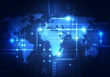 Abstrakter Technologiehintergrund des globalen Netzwerks, Vektor Stockbilder