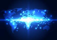 Abstrakter Technologiehintergrund des globalen Netzwerks, Vektor Lizenzfreie Stockbilder