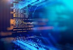 Abstrakter Technologiehintergrund des Programmiercodes Stockfotos
