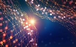 Abstrakter Technologiehintergrund Gl?nzender Stern Gl?hendes Polygonnetz mit bokeh Effekt vektor abbildung