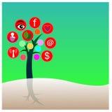 Abstrakter Technologiehintergrund mit Ikonen - Illustration Stockfoto