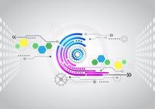 Abstrakter Technologiehintergrund mit verschiedenen technologischen Elementen Stockbilder