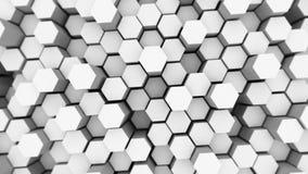 Abstrakter Technologiehintergrund mit vielen weißen Hexagonen Stockbild
