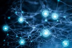 Abstrakter Technologieschutzhintergrund Sicherheitstechnikkonzept des globalen Netzwerks lizenzfreie stockfotografie
