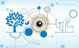 Abstrakter Technologievernetzungs-Industriehintergrund Lizenzfreie Stockfotos