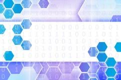 Abstrakter technologischer Hintergrund, der aus einem Satz des Hexagons besteht Stockbild