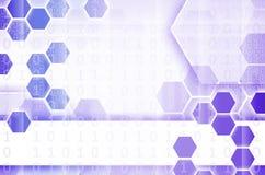 Abstrakter technologischer Hintergrund, der aus einem Satz des Hexagons besteht Stockfotografie