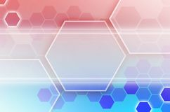 Abstrakter technologischer Hintergrund, der aus einem Satz des Hexagons besteht Stockfoto