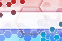 Abstrakter technologischer Hintergrund, der aus einem Satz des Hexagons besteht Stockbilder