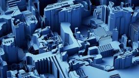 Abstrakter technologischer Hintergrund gemacht von der unterschiedlichen Elementleiterplatte und von der Aufflackernblaufarbe Wie stock video footage