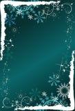 Abstrakter tiefer blauer Hintergrund mit Schneeflocken Stockfotos