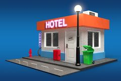Abstrakter Toy Cartoon Hotel Building Wiedergabe 3d Lizenzfreies Stockbild