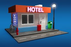 Abstrakter Toy Cartoon Hotel Building Wiedergabe 3d Stockfoto