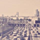 Abstrakter Unschärfeverkehr in der Hauptverkehrszeit Stockfotografie
