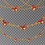 Abstrakter Vektor-Hintergrund mit hängendem Weihnachtsgirlandengold bördelt mit Klingelglocke Stellen Sie für feierliches Design, Stockbild