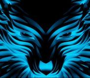 Abstrakter Vektor-starker cyan-blauer Wolf stock abbildung