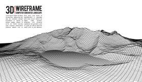 Abstrakter Vektor wireframe Landschaftshintergrund Cyberspacegitter Technologie 3d wireframe Vektorillustration Digital stock abbildung