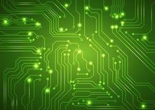 Abstrakter Vektorgrünhintergrund mit High-Techer Leiterplatte vektor abbildung