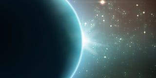Abstrakter Vektortürkishintergrund mit Planeten und Eklipse seines Sternes stock abbildung