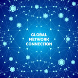 Abstrakter Verbindungs-Blauhintergrund des globalen Netzwerks Stockbild