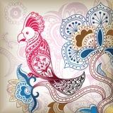 Abstrakter Vogel-mit Blumenpapagei Lizenzfreies Stockbild