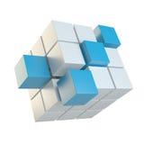 Abstrakter Würfel, der von den Blöcken zusammenbaut Lizenzfreies Stockfoto