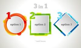 Abstrakter Webdesign-Blasen-Text Vektor-Geschäfts-Rahmen Buntes Fahnenset Stockbilder
