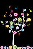 Abstrakter weißer Baum mit stilisierten Früchten und Schmetterlingen Stockfotografie