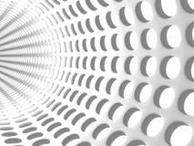 Abstrakter weißer Tunnel Dots Background Stockbild