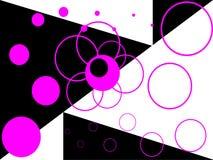 Abstrakter weißer und schwarzer Hintergrund mit rosafarbenem Ring stock abbildung