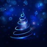 Abstrakter Weihnachtsbaum auf blauem magischem Hintergrund im Raster; Dar Lizenzfreie Stockbilder