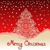 Abstrakter Weihnachtsbaum auf rotem Hintergrund Stockbilder