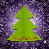 Abstrakter Weihnachtsbaum und violetter Hintergrund Lizenzfreies Stockfoto