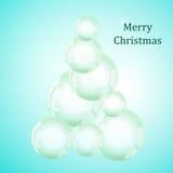 Abstrakter Weihnachtsbaum Weiße Schneeflocken auf einem blauen Hintergrund ablage Lizenzfreies Stockfoto