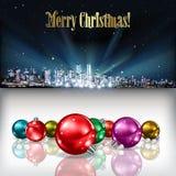 Abstrakter Weihnachtsgruß mit Schattenbild der Stadt Lizenzfreies Stockfoto