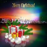 Abstrakter Weihnachtsgruß mit Schattenbild der Stadt Lizenzfreie Stockfotografie
