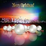 Abstrakter Weihnachtsgruß mit Schattenbild der Stadt Lizenzfreies Stockbild