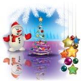 Abstrakter Weihnachtsgruß mit Schneemann Stockfotografie