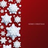 Abstrakter Weihnachtshintergrund mit volumetrischen Papierschneeflocken lizenzfreie abbildung