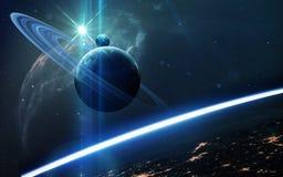 Abstrakter wissenschaftlicher Hintergrund - Planeten im Raum, im Nebelfleck und in den Sternen Elemente dieses Bildes geliefert v stockfoto