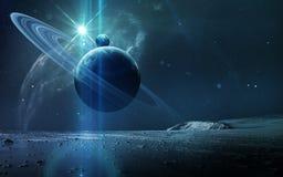 Abstrakter wissenschaftlicher Hintergrund - Planeten im Raum, im Nebelfleck und in den Sternen Elemente dieses Bildes geliefert v lizenzfreies stockbild