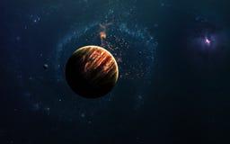Abstrakter wissenschaftlicher Hintergrund - Planeten im Raum, im Nebelfleck und in den Sternen Elemente dieses Bildes geliefert v stockbild