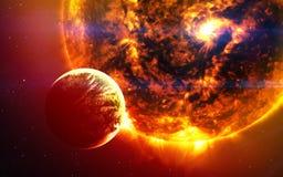Abstrakter wissenschaftlicher Hintergrund - Planeten im Raum, im Nebelfleck und in den Sternen Elemente dieses Bildes geliefert v lizenzfreies stockfoto
