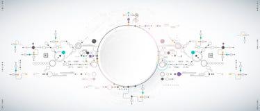 Abstrakter wissenschaftlicher Technologiehintergrund mit verschiedenen technologischen Elementen lizenzfreie abbildung